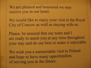 Krakowhotelwelcomesheet
